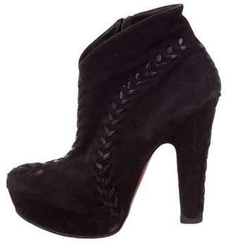 Alaia Suede Platform Ankle Boots