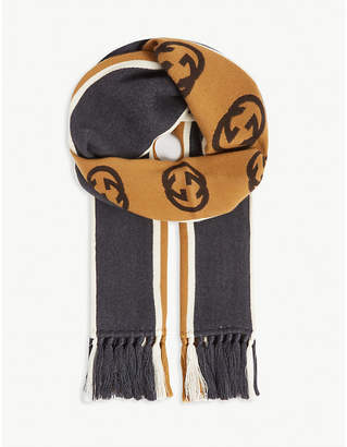 Football striped cotton scarf