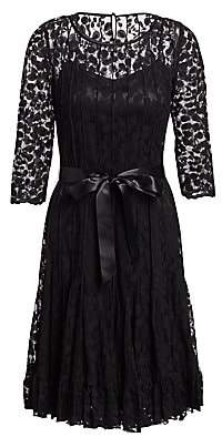 Teri Jon by Rickie Freeman Women's Lace Pintuck Dress