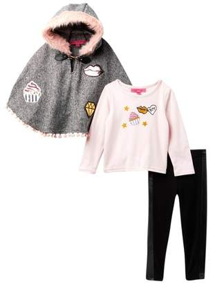 Betsey Johnson Graphic Tee, Faux Fur Trim Poncho & Leggings Set (Little Girls)
