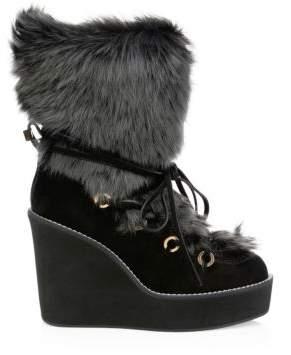 Stuart Weitzman Women's Nikita Fur-Trim Suede Platform Boots - Beige - Size 7