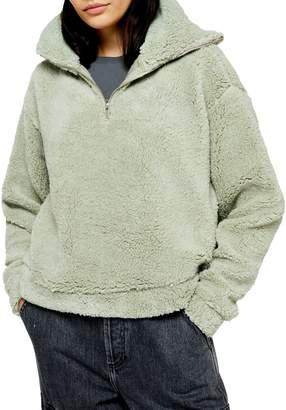 Topshop Faux Shearling Half-Zip Sweatshirt