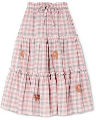 Off-White Innika Choo - Embroidered Gingham Linen Midi Skirt