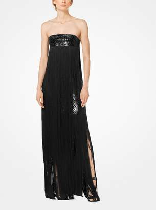 Michael Kors Fringed Sequined Stretch-Cady Strapless Gown