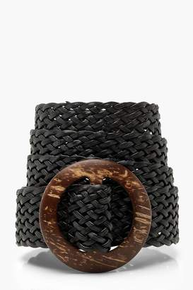 boohoo Wooden Buckle Weave Detail Belt