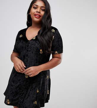 Asos DESIGN Curve embroidered velvet button through tea dress
