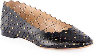 Chloé Perforated Leather Ballet Flat with Studs
