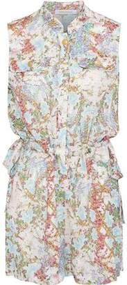 Pierre Balmain Bow-Detailed Floral-Print Silk Crepe De Chine Playsuit