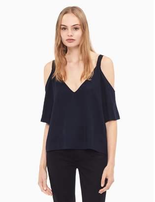 Calvin Klein solid cold shoulder top