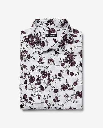 Express Extra Slim Dark Floral Print Dress Shirt