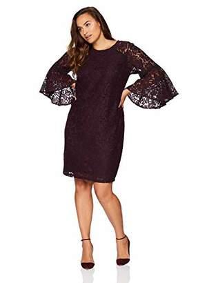 Calvin Klein Women's Plus-Size Lace Bell Sleeve Sheath Dress