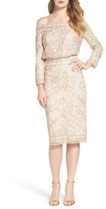 Women's Tadashi Shoji Embroidered Off The Shoulder Blouson Dress $428 thestylecure.com