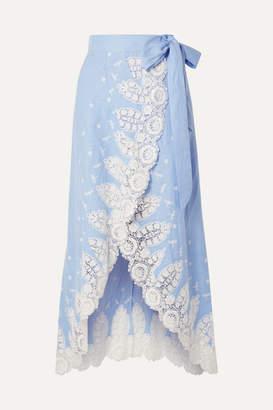Miguelina Clarice Crochet-trimmed Linen Wrap Skirt - Light blue