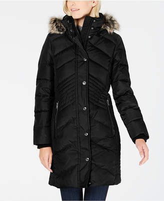 London Fog Faux Fur Hooded Down Puffer Coat
