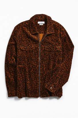 Urban Outfitters Ryder Cheetah Corduroy Zip-Up Shirt