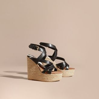 Burberry Leather Platform Espadrille Wedge Sandals $495 thestylecure.com