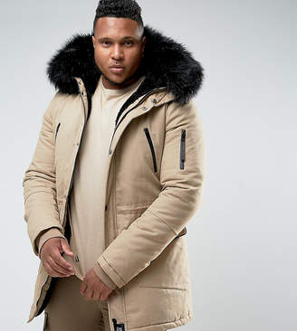 Asos Sixth June Parka Jacket In Stone With Extreme Faux Fur Hood Exclusive To
