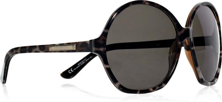 Yves Saint Laurent Animal-print round-frame acetate sunglasses