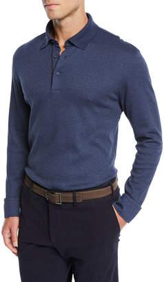 Ermenegildo Zegna Men's Leather-Trim Long-Sleeve Polo Shirt