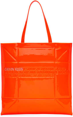 Calvin Klein Orange Small Geometric Tote