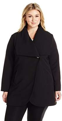 Lark & Ro Women's Plus Size Single Button Jacket