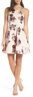 Sequin Hearts Foil Floral Print Scuba Crepe Party Dress
