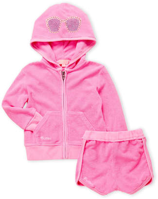 Butter Shoes Toddler Girls) Two-Piece Terry Zip Hoodie & Shorts Set