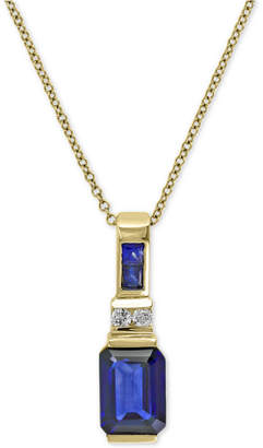 Effy Royale Bleu Sapphire (1-3/4 ct. t.w.) and Diamond Accent Pendant Necklace in 14k Gold