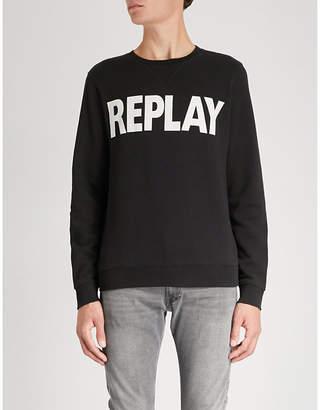 Replay Logo-print cotton-jersey sweatshirt