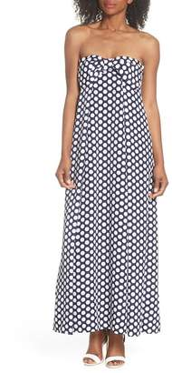 J.Crew J. Crew Strapless Dot Tie Front Maxi Dress