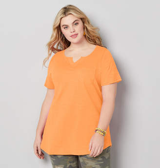 Avenue Plus Size Split Neck Solid Slub Stripe Tee