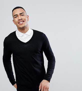 Asos TALL Cotton V-Neck Sweater In Black