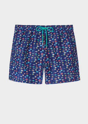 Paul Smith Men's Navy 'Fish' Print Swim Shorts