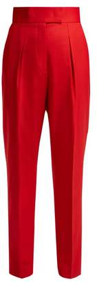 Sara Battaglia High Waisted Stretch Wool Trousers - Womens - Red