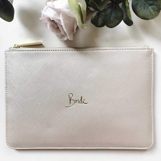 French Grey Interiors Bride Slogan Clutch Bag Metallic White