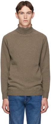 Officine Generale Brown Wool Seamless Turtleneck