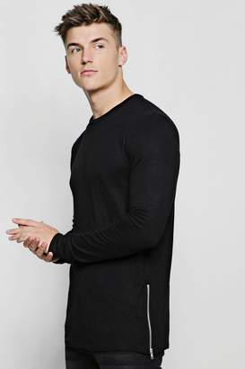 boohoo Crew Neck Knitted Side Zip Jumper