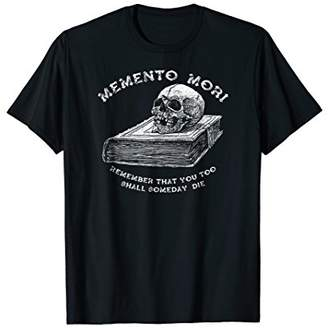 Memento Mori - skull on Book T-Shirt (white print)