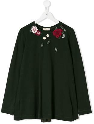 MonnaLisa TEEN rose embroidered top