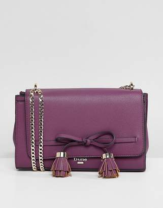Dune Essey Berry Cross Body Bag With Bow Tassel