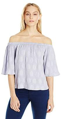 Sugar Lips Sugarlips Women's Polka Dot Pleated Off The Shoulder Top