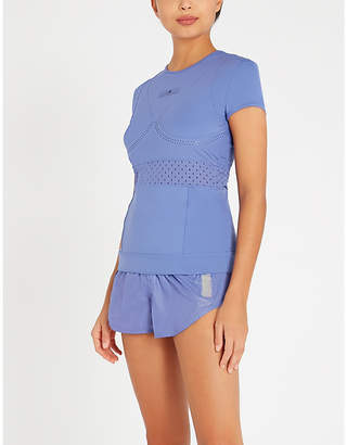 adidas by Stella McCartney Logo-waist perforated-panel shell shorts