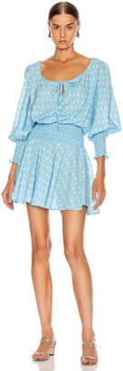 Rixo Lina Mini Dress in Vintage Ditsy Floral & Dusky Blue Cream | FWRD