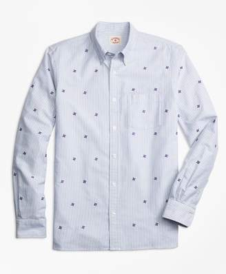 Brooks Brothers Pinwheel-Embroidered Striped Oxford Sport Shirt
