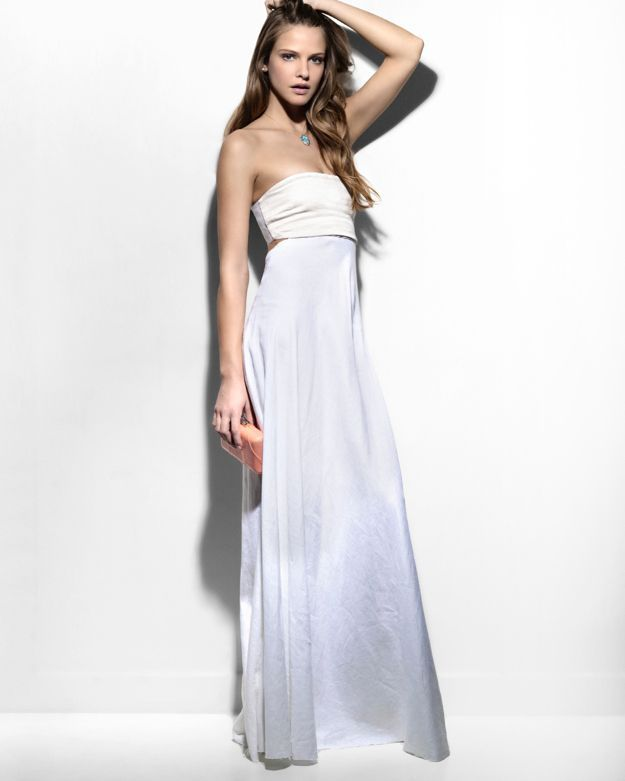 L'Agence 20th Anniversary Capsule Collection Exclusive Lace Up Back Strapless Maxi Dress