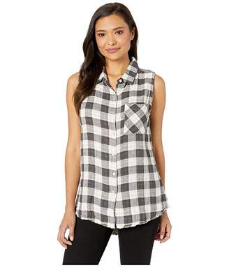 True Grit Dylan by Double Lite Cotton and Linen Checks Sleeveless Shirt with Fray Hem