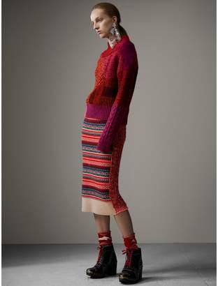 Burberry Fair Isle and Cable Knit Wool Cashmere Blend Skirt