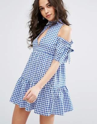 Missguided Cold Shoulder Gingham Dress $53 thestylecure.com