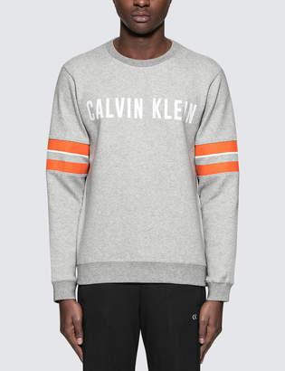 Calvin Klein Rib Hem Pullover Sweatshirt with Sleeve Stripes