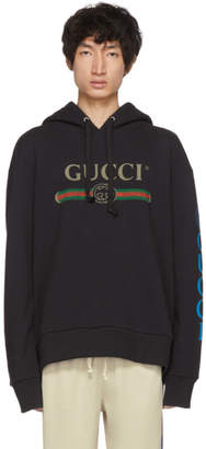 Gucci Black Embroidered Logo Hoodie
